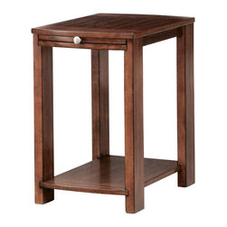 Hammary - Hammary Maxim Chairside Table in Russet Brown Walnut - Chairside table in russet brown walnut belongs to Maxim collection by Hammary