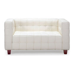 ZUO MODERN - Button Loveseat White - With sophisticated ribbing and button pattern, the appropriately named Button series has all leather seating surfaces with leatherette back and sides and solid wood legs.