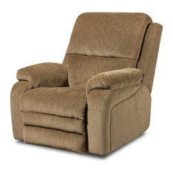 Chelsea Home - Oakdale Power Rocker Recliner - Transitional style. Mechanically engineered power mechanisms. Gazette thistle cover. Seating comfort: Medium. Sturdy kiln-dried hardwood frame. Stress points are reinforced with blocks to secure long lasting frame. Sinuous springing system manufactured with reinforced 16-gauge border wire. Double springs are used on the ends nearest the arms to give balance in the seating. Hi-density foam cores with dacron polyester wrap cushions. Cushions made with zippers. Made from 100% polyurethane. Made in USA. No assembly required. 41 in. L x 38 in. W x 43 in. H (120 lbs.)