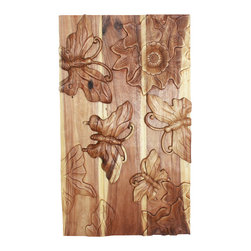 Kammika - Butterfly 3D Wall Panel Sust Wood 23 x40 H x 2 inches w EcoFriendly Livos Clear - Our lovely Sustainable Monkey Pod Wood Wall Panel Butterfly 3D 23 inch x 40 inch height x 2 inch thickness in Eco Friendly, Natural Food-safe Livos Clear Oil Finish Wall Panel depicts a summer field scene with wild flowers attracting butterflies to their sweet nectar.  Each panel is meticulously carved out of joined panels of Monkey Pod wood. To make hanging easier, there are two embedded flush mount Keyhole hangers for a protruding screw from your wall. All are hand carved by skilled craftspeople in Thailand, who spend hours meticulously shaping, sanding, and finishing these wonders of wood. The talent behind these gorgeous one-of-a-kind creations is readily visible. The panels are made of sustainable wood grown specifically for the woodcarving industry, and are hand rubbed in natural non toxic eco friendly Livos Clear Oil that is polished to a water resistant and food safe matte finish. Color ranges from medium to dark Walnut brown tones that will darken as the wood ages. These natural oils are translucent, so the wood grain detail is highlighted. There is no oily feel; and cannot bleed into carpets, as it contains natural lacs. We make minimal use of electric hand sanders in the finishing process. All products are dried in solar or propane kilns. No chemicals are used in the process, ever. Each eco friendly functional art piece is kiln dried, sanded, hand rubbed with eco friendly all natural Livos Clear Oil; and then they are packaged with cartons from recycled cardboard with no plastic or other fillers. As this is a natural product, the color and grain of your piece of Nature will be unique, and may include small checks or cracks that occur when the wood is dried. Sizes are approximate. Products could have visible marks from tools used, patches from small repairs, knot holes, natural inclusions or holes. There may be various separations or cracks on your piece when it arrives. There may be some slight variation in size, color, texture, and finish color.Only listed product included.