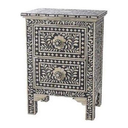 Black and Bone Inlay Nightstand And Side Table - The beautiful graphic pattern of bone inlay will make a bold statement anywhere in the house.