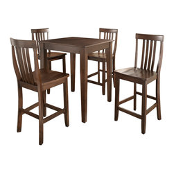 Crosley - 5 Piece Pub Dining Set with Tapered Leg and School House Stools in Black Finish - Constructed of solid hardwood and wood veneers, the 5 piece Pub / High Dining set is built to last. Whether you are looking for dining for four, or just a great addition to the basement or bar area, this set is sure to add a touch of style to any area of your home.*Free Shipping on orders over $100.00 to the 48 contiguous United States. Orders to Alaska, Hawaii, and all other countries, need to have the shipping calculated and the cost added to the order. Contact us at bentleymarketing@cox.net, for the additional fee.