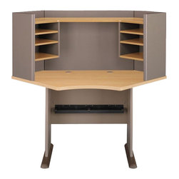 "BBF - Bush Series A 42"" Wood Corner Computer Desk with Hutch in Light Oak - Bush - Office Sets - WC64342PKG1 - Bush 42"" Series A Corner Wood Writing Desk in Light Oak (included quantity: 1) Features:"