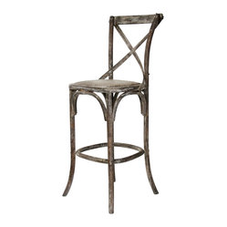 Parisienne Cafe Bar Stool - Limed Charcoal