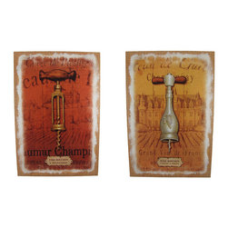 Pair of  French Corkscrew Printed Burlap Canvas Art - This complementary pair of canvases feature the first step in enjoying a wonderful bottle of wine- a corkscrew! Each one shows a scenic French villiage and looks as though it is painted on burlap. Each measures 23 1/2 inches tall, 15 3/4 inches wide, 1 1/4 inches deep and mounts to the wall with a single nail or screw. They are a wonderful addition to your dining room, restaurants, or bars.