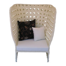 Outdoor Armchair - This high back patio armchair is woven from UV-resistant resin rattan, giving you a light, beachy look that can hold up under the sun and rain. The open weave design allows for a refreshing airflow, but is solid enough to shelter you from the sun's rays. Perfect for lounging by the pool or reading out on the patio.