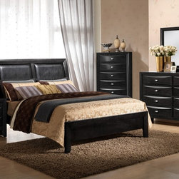 None - Black/ Black PVC Celia King Bed - The  Celia bed collection boasts a rich black finish and padded headboard panels.  This transitional piece goes well with the Linda (B) case pieces.
