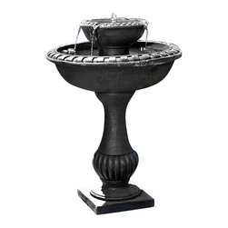 Serenity Health & Home Decor - Outdoor Classics Gardens Solar-on-Demand Birdbath Fountain - In a defined black style, this fountain doubles as an attractive birdbath. You and the birds will enjoy the trickling water of this fountain!