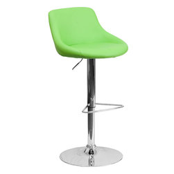 Flash Furniture - Green Vinyl Bucket Seat Adjustable Height Bar Stool with Chrome Base - This dual purpose stool easily adjusts from counter to bar height. The bucket seat design will make this a great accent chair around the bar area or kitchen. The easy to clean vinyl upholstery is an added bonus when stool is used regularly. The height adjustable swivel seat adjusts from counter to bar height with the handle located below the seat. The chrome footrest supports your feet while also providing a contemporary chic design.