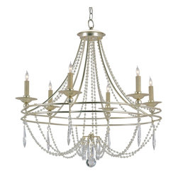 Currey and Company - Watteau Chandelier - A beautiful traditional form is graced with strategically placed crystal decoration. The graceful wrought iron framework has a rich Silver Granello finish. This six light fixture is the perfect size for intimate dining rooms, bedrooms or baths.