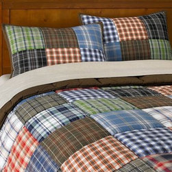 Patch Plaid Quilt & Sham - Suggesting winter nights of porch sleeping and summer camping, this soft quilt and sham is bound to add a calm along with a lot of detail. Create a space that will have your child asking for bedtime.