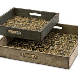 """Imax Worldwide Home - Corinne Square Wooden Serving Trays - Set of 2 - Set of two square serving trays displaying an ornate scroll interior.; Country of Origin: China; Weight: 7 lbs; Dimensions: 13-17.25""""w x 13-17.25""""d"""