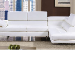 Furniture of America - Furniture of America Contemporary 2-piece Sectional with Adjustable Headrest - Refresh your home decor with this stunning two-piece leather bonded sectional. With an extraordinary contemporary design, this sectional features an amazing adjustable headrest designed to cater to your comforting needs.