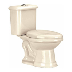 """Renovators Supply - Toilets Bone Laurier Dual Flush Toilet Elongated   13728 - Dual Flush Toilets Laurier Toilet TOP Flush: By using Dual Flush technology the EPA estimates homeowners save up to 25,000 gal. of water a year. How? Use 0.8 LOW flush for liquids and 1.6 HIGH flush for solid waste. Control your water usage to SAVE money and conserve water. Our G-Force high efficiency flush system technology lets you flush only ONCE! Eliminate the need to double flush. Ergonomic easy height and elongated bowl makes using it safer by putting less strain on your body. Includes SAFE and QUIET """"No-Slam"""" plastic toilet seat and EASY top flush plastic faux chrome button. Measures 28 1/2 inch H x 28 inch projection"""