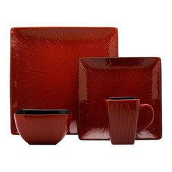 Red Vanilla - Red Vanilla Square Crimson Red 16-piece Dinner Set - Finished with a reactive crimson red glaze, this beautiful square dinnerware set features 20 pieces to serve four people. Constructed with durable stoneware, this textured dinner set is sure to add a pop of contemporary color to your table.