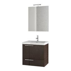 ACF - 23 Inch Wenge Bathroom Vanity Set - Set Includes: Vanity Cabinet (2 Doors,1 Drawer), high-end fitted ceramic sink, wall mounted vanity mirror.