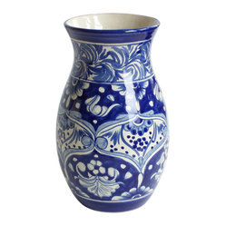Christina Vase - Make a pretty statement: Display your fresh dahlias in this authentically styled Mexican vase. The contemporary yet Mexican-influenced design, lets you place it on your coffee table solo or take it center stage on a mantel or shelf.