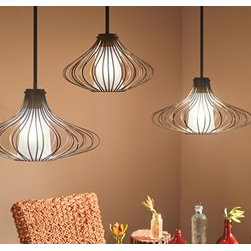 Pendants with Pizzazz - Wire pendant lights at different heights make a space more stylish.
