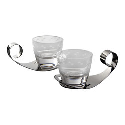 """MarlaDawn - Votive Set - Crystal votives on stainless holders evoke a new take on an old-fashioned romantic design. Features an etched offset half-circle pattern on the crystal which sit loosely on the stainless steel holder.  Each crystal votive measures approx 3"""" in diameter.  Set of two as shown."""