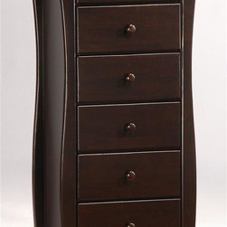 Night & Day Furniture - Dark Chocolate Lingerie Chest w Six Drawers - Use this essential piece of furniture in your master bedroom or small dressing room. This dark chocolate lingerie chest is big enough to hold all of your under garments and small enough to fit in most tight places. Six drawers for storage. Features gently undulating legs. 100% Malaysian Rubberwood construction. Shown in Dark Chocolate. 23 in. W x 66 in. D x 20 in. HOur Clove Lingerie Chest is another sweet option for you. Six drawers to hold all your essentials in a trim, stylish unit that fits just about anywhere. Great for a small dressing room. All Spices Bedroom Collection items come with a limited 10 year warranty.