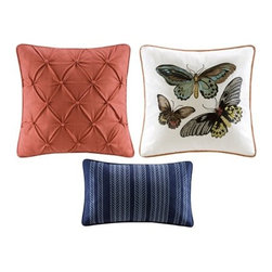 Pillows and Finishing Touches! - Don't you love the butterflies? This colorful set of 3 pillows can be a great finishing touch for your living room, family room or bedroom!