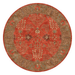 Jaipur Rugs - Jaipur Rugs Hand-Tufted Arts and Craft Wool Orange/Brown Round Area Rug, 6 x 6ft - The Poeme Collection takes traditional designs and re-invents them in a palette of modern, highly livable colors. Each design is made from premiere hand-spun wool and crafted with precision for the look and feel of a hand-knotted rug, at the more affordable cost of a hand-tufted. Poeme will effortlessly coordinate individual design elements to finish any room.