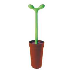 Alessi - Merdolino Toilet Brush by Alessi - The Alessi Merdolino Toilet Brush was designed in 1993 by Stefano Giovannoni to turn the typically off-limits toilet brush into a fun and strangely inviting potted plant. The long stem of the shrub makes for a convenient handle, with a round lid just above the brush to keep it hidden when it's back in the pot/holder. Alessi, known as the Italian design factory, has manufactured household products since 1921. The stylish and fun items offered are the result of contemporary partnerships with some of the world's best designers of unique and modern home accessories.