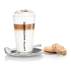 Blomus - Cono Latte Macchiato Set - Ready for that afternoon pick me up? This Latte Macchiato set justifies your desire for that little boost of espresso with a glass that proudly states the obvious. This is the beginning of something warming, foamy, indulgent and utterly wonderful.