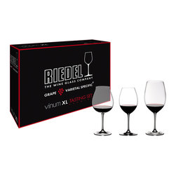Riedel - Riedel Vinum XL Red Wine Tasting Glasses - Set of 3 - Vinum XL Red Wine Tasting Set. Each boxed set contains one of each: Vinum XL Cabernet Sauvignon, Pinot Noir, and Syrah.