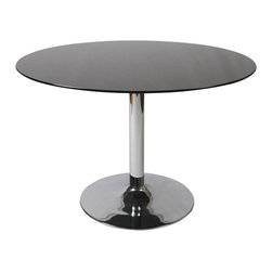"Pastel Furniture - Pastel Sundance Round Black Glass Dining Table in Chrome - 44"" Round Black Glass Dining Table in Chrome"