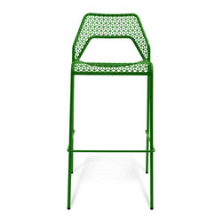 "Blu Dot - ""Blu Dot Hot Mesh Barstool, Green"" - ""Chipper stool seeks derrieres for at home enjoyment or cafe canoodling. Available in six finishes: black, green, humble red, natural yellow, simple blue and off-white. Stackable and suitable for use indoors or out. Also available as a chair or counterstool."""