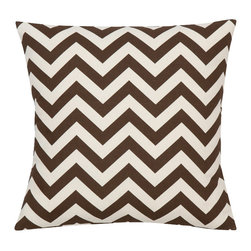 Look Here Jane, LLC - Chevron Brown Natural Pillow Cover - PILLOW COVER