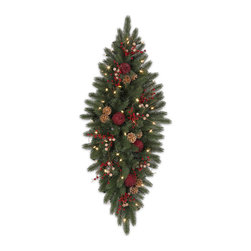 """Balsam Hill - 72"""" Balsam Hill® Vermont White Spruce Bordeaux Artificial Mailbox Swag - Inspired by White Spruce trees, our perennial bestseller, our White Spruce Bordeaux mailbox swag is adorned with burgundy pomegranates, gold pine cones, and berry accents. No mailman or visitor can resist this luxurious swag. Our hand-crafted mailbox swags have been featured on TV shows such as """"Ellen"""" and """"The Today Show"""" and are a recipient of the Good Housekeeping Seal of Approval. Balsam Hill swags hang beautifully, are made of flame-retardant and non-allergenic materials, and are covered by our popular 5-year foliage and 3-year light warranties. Free shipping when you buy today!"""