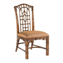 Lexington Home Brands - Pacific Rim Side Chair - Pan-Asian influenced bent rattan, with leather binding, in a golden tortoise shell finish. The upholstered seat is Coral Seas, a ginger colored woven fabric.