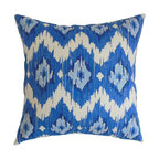 The Pillow Collection - Ulrike Ikat Pillow Blue - Bright and bold, this striking decor pillow is a must-have for your room. The ikat pattern which adorns this square pillow comes in shades of blue, teal and white. You can use this accent pillow anywhere inside your home from your living room to your bedroom. This throw pillow can easily be paired with other color schemes and patterns. Made of 100% plush and soft cotton fabric. Hidden zipper closure for easy cover removal.  Knife edge finish on all four sides.  Reversible pillow with the same fabric on the back side.  Spot cleaning suggested.