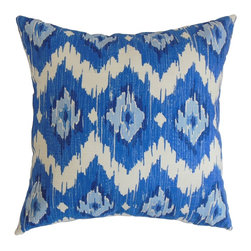 "The Pillow Collection - Ulrike Ikat Pillow Blue 18"" x 18"" - Bright and bold, this striking decor pillow is a must-have for your room. The ikat pattern which adorns this square pillow comes in shades of blue, teal and white. You can use this accent pillow anywhere inside your home from your living room to your bedroom. This throw pillow can easily be paired with other color schemes and patterns. Made of 100% plush and soft cotton fabric. Hidden zipper closure for easy cover removal.  Knife edge finish on all four sides.  Reversible pillow with the same fabric on the back side.  Spot cleaning suggested."