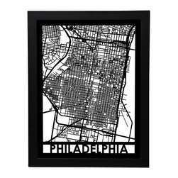 Cut Maps - Philadelphia Street Map - The Cut Maps 'City Art' collection are designed from real city maps, they provide a unique birds-eye view of your favorite neighborhoods and streets to display in your home or office.