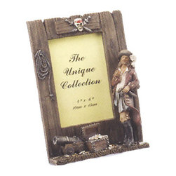 "Pirate Picture Frame - The pirate picture frame fits a 4"" x 6"" picture. It features a pirate, cannon, fisherman's rope  treasure chest. It will add a definite nautical touch to whatever room it is placed in and is a must have for those who appreciate high quality nautical decor. It makes a great gift, impressive decoration and will be admired by all those who love the sea."