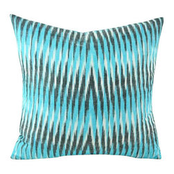 Hand Woven Ikat Pillow Cover - Spe105 - Ikat pillow cover constructed from hand woven Ikat fabric from Uzbekistan.
