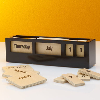 Creative Office Accessories - Lost in cyberspace? A quick glance at this sleek date box will immediately reconnect you with the real world. Adjust the day, month and date by moving screen printed plywood tiles. Slim enough for a tight workspace, a narrow shelf, or a bedside table.