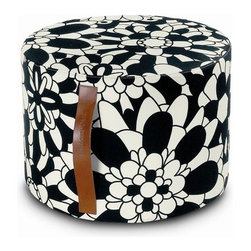 """Missoni Home - Vevey Cylindrical Pouf 12"""" x  16"""" - Features: -The Master Moderno Collection. -Available in Janisey, Tobago, Vevey and Vevey BN fabrics. -Removable cover. -Patent leather handle. -Base: fabric Eucla. -Material: Cotton. -Overall Dimensions: 12"""" H x 16"""" W."""