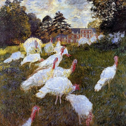 "Claude Oscar Monet Turkeys - 16"" x 16"" Premium Archival Print - 16"" x 16"" Claude Oscar Monet Turkeys premium archival print reproduced to meet museum quality standards. Our museum quality archival prints are produced using high-precision print technology for a more accurate reproduction printed on high quality, heavyweight matte presentation paper with fade-resistant, archival inks. Our progressive business model allows us to offer works of art to you at the best wholesale pricing, significantly less than art gallery prices, affordable to all. This line of artwork is produced with extra white border space (if you choose to have it framed, for your framer to work with to frame properly or utilize a larger mat and/or frame).  We present a comprehensive collection of exceptional art reproductions byClaude Oscar Monet."