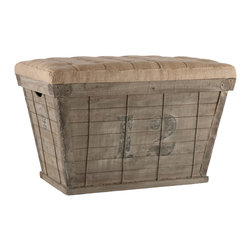 Kathy Kuo Home - French Country Black Lettering Long Storage Crate Burlap Ottoman - This rectangular storage crate has a tapered silhouette and a tufted cushion with black hand stenciled numbers. You will receive a number chosen at random.