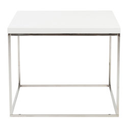 Euro Style - Teresa Side Table - White Lacquer/Polished Stainless Steel - There's plain and there's perfect.  This collection of 4 Teresa table designs are not only perfectly designed for strength and timeless style, they work beautifully together.  Go for the group!
