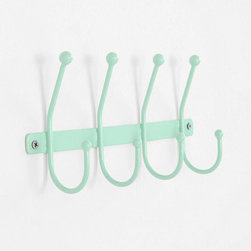 Quadruple Wall Hook, Mint - Four hooks are always better than one. This little buddy will keep your keys, dog leashes and jackets where you always need them, and it will stand out nicely on white walls.