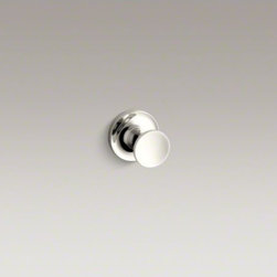 KOHLER - KOHLER Purist(R) robe hook - Purist accessories combine architectural forms with sensual design lines for a modern, minimalist look. With a round profile, this robe hook offers a simple silhouette and convenient place to hang your robe, towel, or clothing in the bathroom.