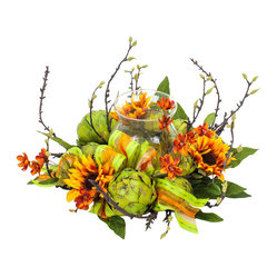 Artichoke Wreath - Feast your eyes on this innovative fusion of sunflowers, ribbon and edible flowers, aka artichokes — yes, artichokes! Fill the glass with a candle or potpourri and you've got yourself a centerpiece for the dinner table. And you thought artichokes were just a side dish!