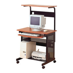 Coaster - Coaster Desks Casual Computer Unit with Storage and Casters - Coaster - Computer Carts - 7121 - This functional computer unit will be a welcome addition to your home offering a compact computer workstation. The desk has a top work surface to accommodate your computer monitor and mouse with an upper shelf for other work essentials. A roll out keyboard tray makes computer use easy all in a warm medium wood finish. The Black metal base of this workstation features a spacious shelf for paper and other work supplies and another shelf below that will hold your CPU tower and printer. Casters at the base of this desk make it mobile so you can easily move it wherever you need it in your home.