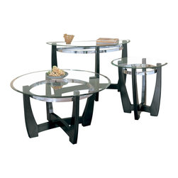 Homelegance - Homelegance Raven 3 Piece Coffee Table Set in Ebony - Raven collection is sleek contemporary design featuring ebony finish Hardwood table base, metal chrome ring, and beveled glass top.