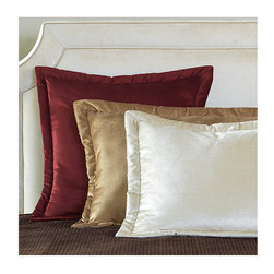 Frontgate - Lucerne Bed Pillow - From Eastern Accents. Dry clean only recommended. Because this bedding is specially made to order, please allow 4-6 weeks for delivery.. The Lucerne Solid Velvet Bedding Collection is lush and decadent. Seven vibrant colors comprise this grand collection, featuring quilted velvet coverlets and bed skirts in ruffled and pleated styles, as well as a luxurious array of coordinating accessories.  .  . . Made in Italy. Part of the Lucerne Solid Velvet Bedding Collection.